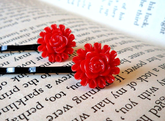 Set of 2 Bright Red Bobby Pins