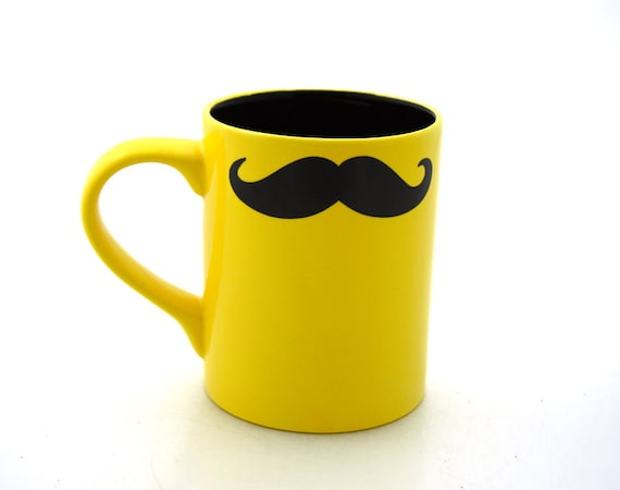 Moustache Mug Mustache Mug  Yellow Double Sided Kiln Fired