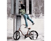 Phone Booth Photo -  Humorous Art - Girl on Bike - justamoment