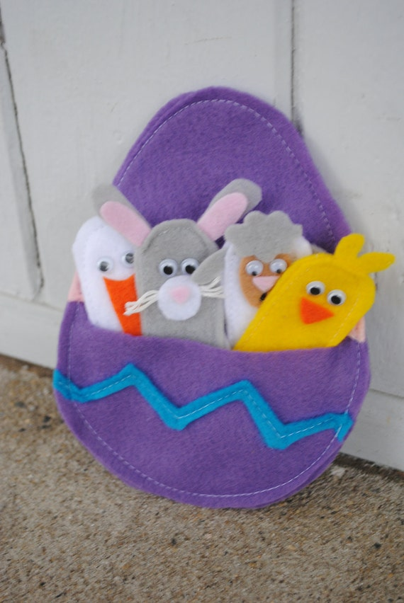 EASTER FINGER PUPPETS easter egg pouch party favor gift