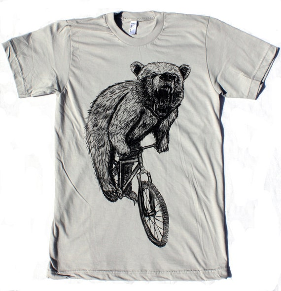 BICYCLE Tshirt Bear on a Bike Unisex American Apparel Silver Shirt