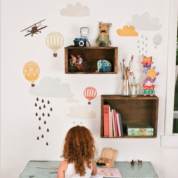 Up Up and Away - Reusable Fabric Wall Decals (not vinyl)
