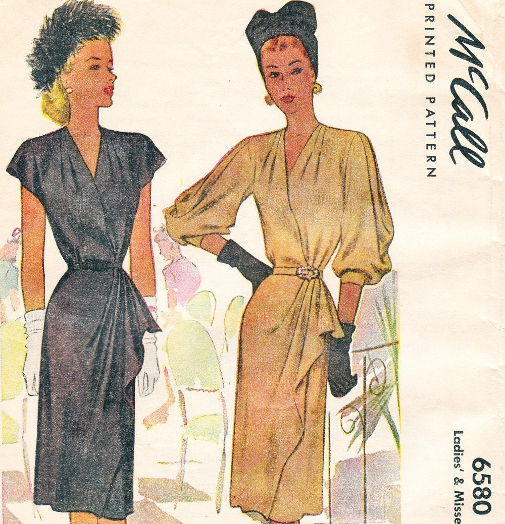 Past Patterns: #3421: Misses' Evening Dress: Dated 1940
