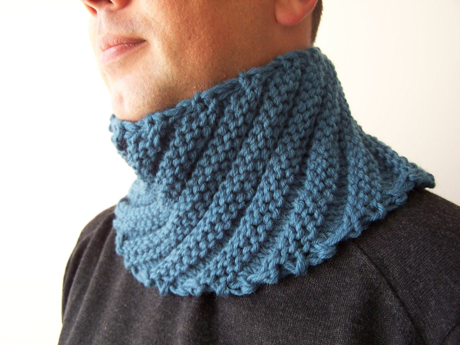 HAND KNIT BLUE Cowl Scarf for Men Fall Scarf Menswear Mens Scarf  Hand Knitted Scarves For Men