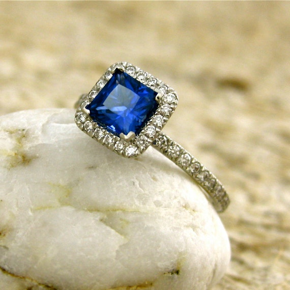 Custom Made Princess Cut Blue Sapphire & Diamond Engagement Ring in Platinum