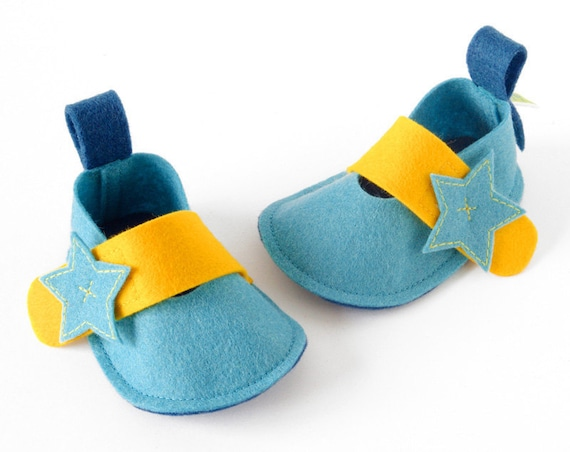Sea blue baby shoes, Pixie Star newborn girls & boys booties, unisex infant slippers, baby gift crib shoes