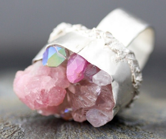 Custom Made Mixed Crystal Ring in Sterling Silver- Large Size