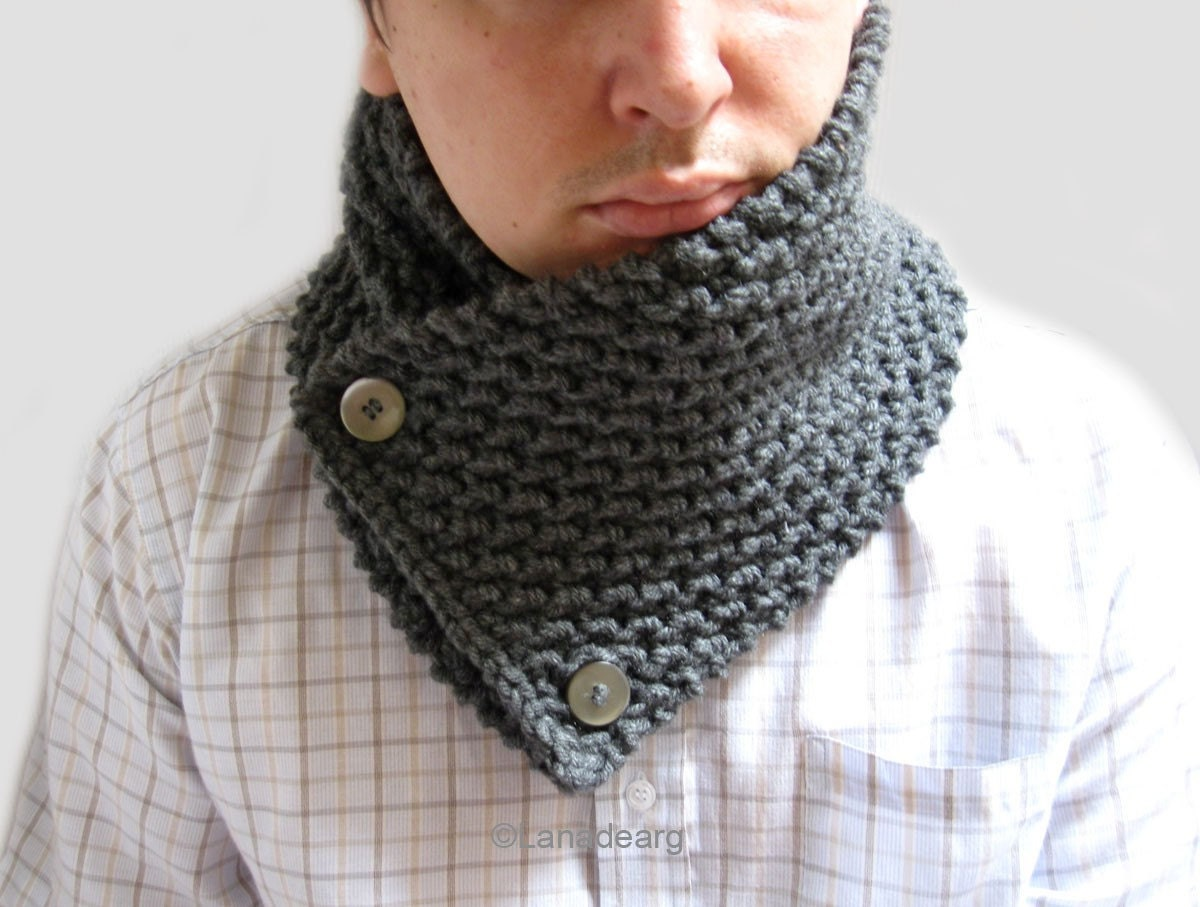 Hand Knit thick Scarf neckwarmer cowl chunky for men by lanadearg Hand Knitted Scarves For Men