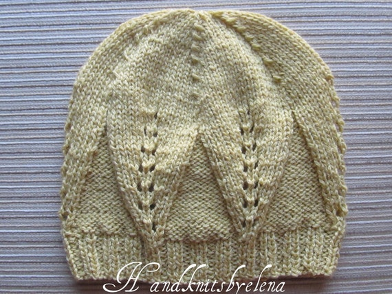 Number 5 KNITTING PATTERN Girl Hat With Large Leaves Pattern