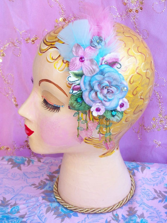Mint Aqua Blue Rose & Forget Me Nots - Velvet Millinery - Hair Jewel