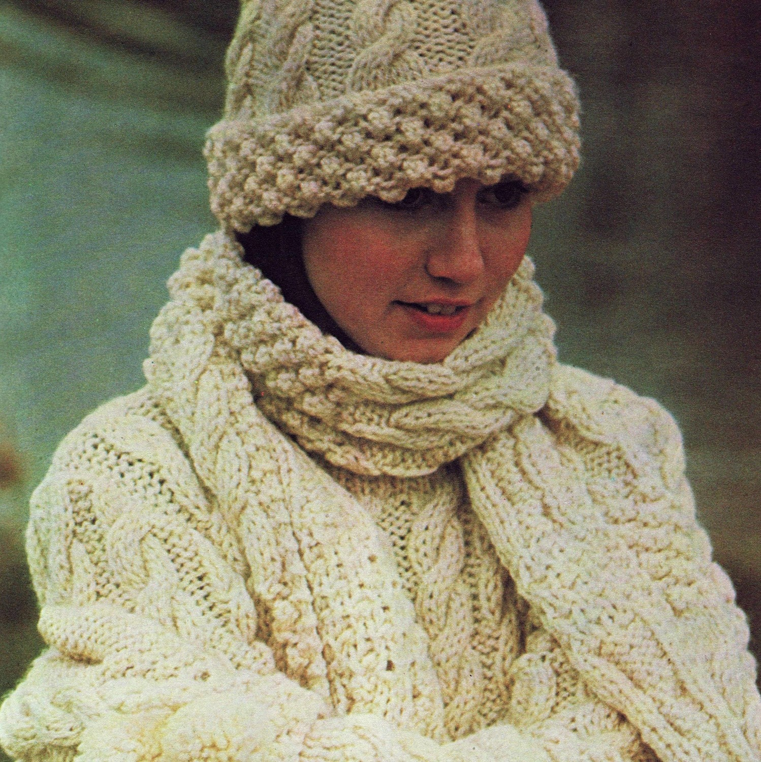 Knitting Pattern Aran Cable Hat : Vintage Knitting Pattern PDF Aran Sweater Hat Scarf And Gloves Cable