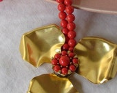 Necklace of Vintage Coral Beads with Big Flower - NellsBelles