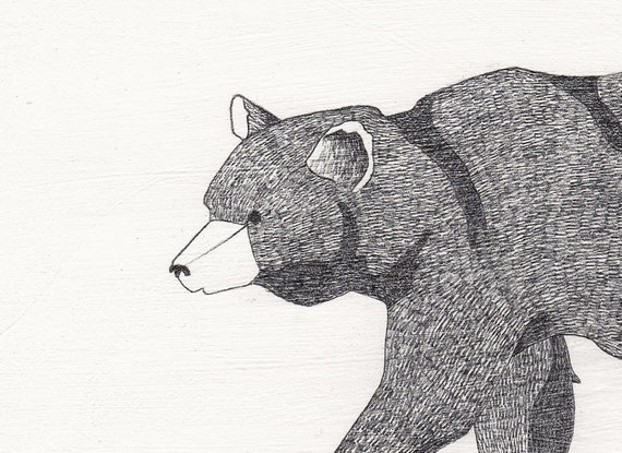 Sketched Bear Pencil Drawing - 6x8 original artwork on wood panel