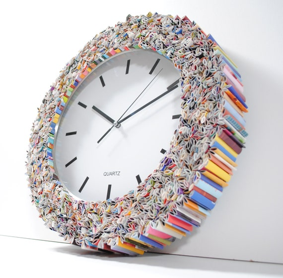 READY TO SHIP clock wall art, made from recycled magazines, colorful, unique