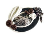 Leather brooch with Agate and smoky quartz black white brown art deco