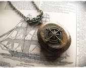 "Compass Locket Necklace ""The Journey"" Pirate Steampunk - bittenanddazzled"
