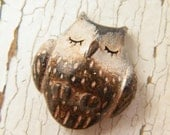 Little Brown Owl bead - Sleepy Woodland Critters (ready to ship) - TreeWingsStudio