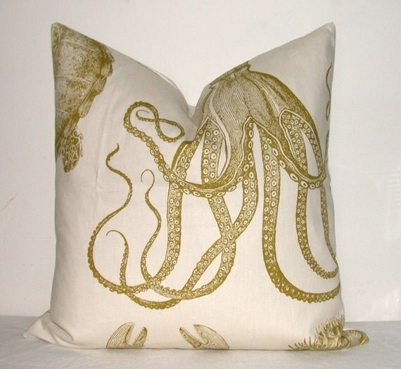 Designer Pillow - Decorative Pillow - Throw Pillow - Sea Creature - 18x18 inch - Nautical