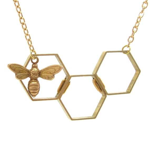 Honey bee honeycomb necklace