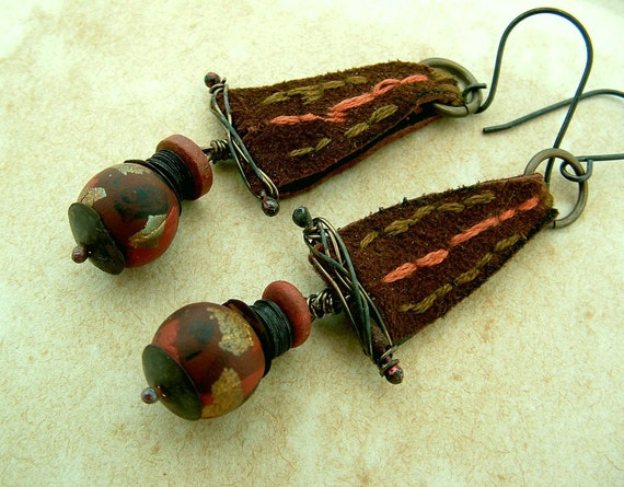 Barbary Coast - rustic tribal opulent gold leaf leather hand stitched rust bronze earrings