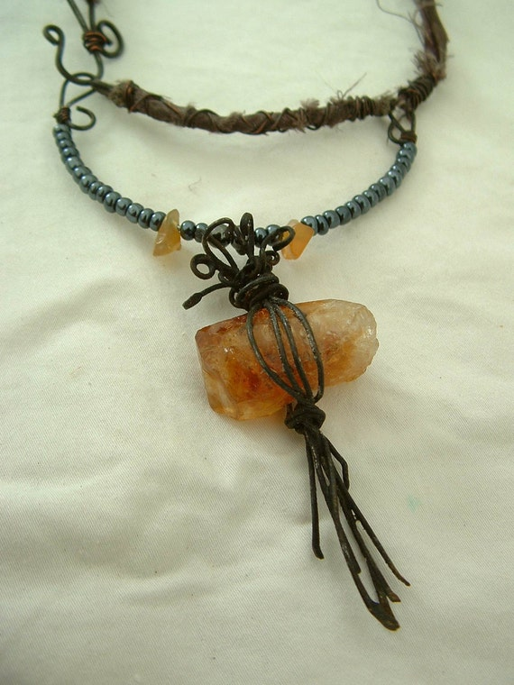 Spell of Binding golden citrine gemstone metalworked rustic magic pewter silk choker necklace
