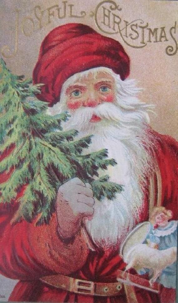 Vintage Christmas Postcard Santa Tree and Toys Framed