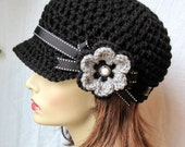 Womens Hat, Teen Black Newsboy, Black Ribbon, Flower, Gray, Pearl Button, Gifts for Her, Birthday Gifts JE148NFRALL6 - JadeExpressions
