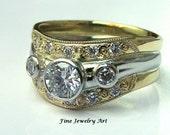 Handmade18k Gold & Platinum Diamond Wedding Ring Band
