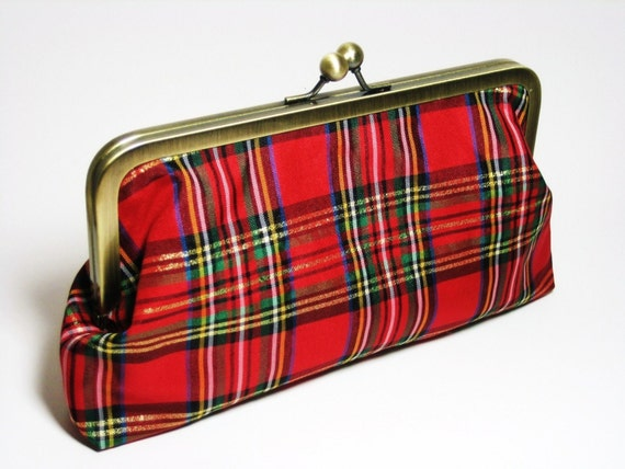 Christmas Plaid Clutch Purse Bag