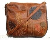 Brown Leather Bag Cognac Leather  Bag Applique Leaves Bag Leather Fall Handbag Rustic Harvest Colors - EightSeasons