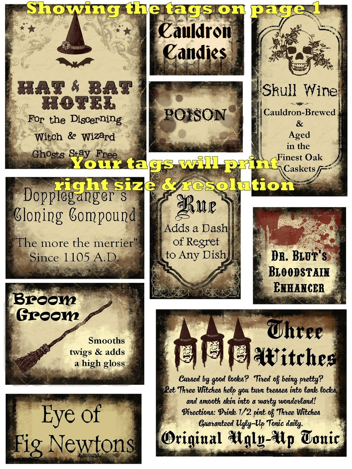 Free potion labels http www etsy com listing 71768221 20 potions