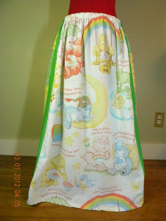 Vintage Patchwork Care Bears Hippie Skirt
