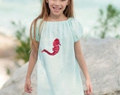Red Seahorse on aqua dress and headband - MrsLaura30