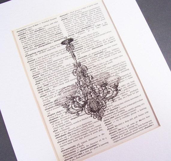 image vintage dictionary page art print chandelier black and white two cheeky monkeys homewares