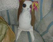 "OOAK Bunny Stuffie Stuffed Animal primitive ""Millicent"""