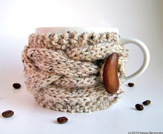 Oatmeal Cup Cozy, Knitted Coffee Cozy, Coffee Sleeve - Fall Autumn Wood Woodland Nature Farm Cone Acorn Rustic - theteam oht