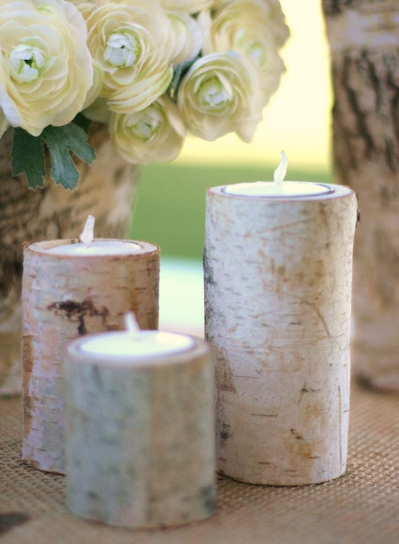 Birch Bark Candle Holders Rustic Home Decor Christmas Gift READY TO SHIP