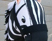 Stick Horse Zebra Applique Ready to Ride MADE TO ORDER - RusticHorseShoe