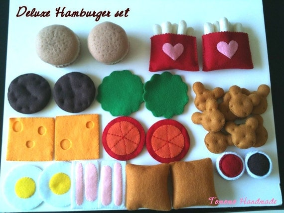 ETSY  Pretend food - Play food - Felt food     Hamburger  Dinner set