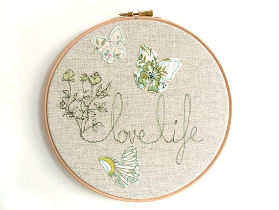 "Embroidered Hoop Art - 'Flowers & Butterflies' textile artwork in green-  8"" hoop"