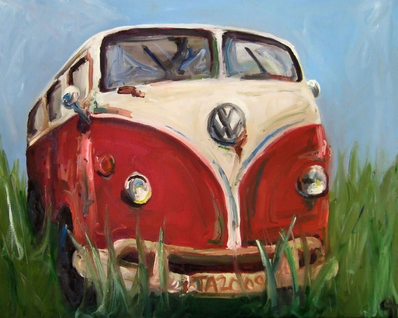 Volkswagon Painting Davis the Volkswagon Microbus - Stretched Canvas print - 8x10