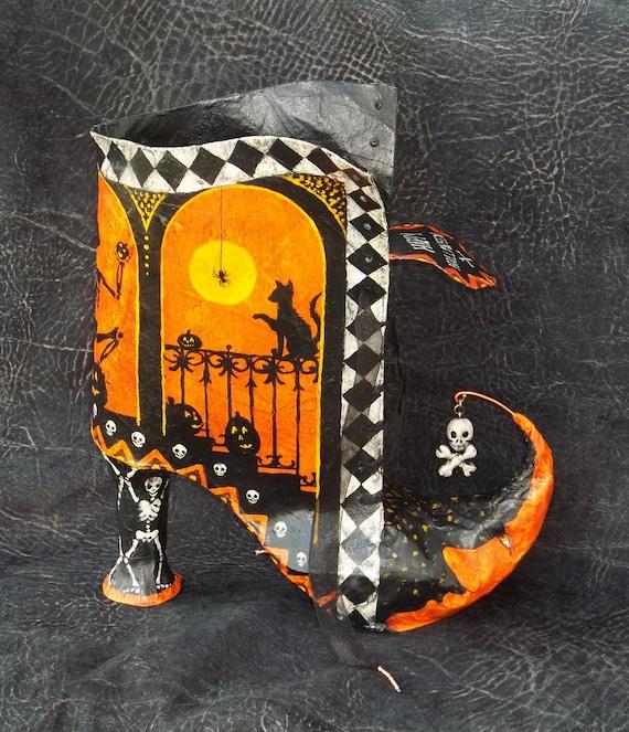 Cómo hacer un papel Mache Witch BOO't - PDF Paso a paso Boot decorativo Witch Modelo de contenedores y Tutorial para Halloween o todo el año