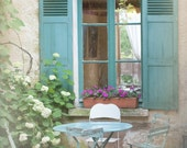 French Country Photo - Blue Bistro Table, Chairs, Shutters, Cottage Window, Giverny, France, Home Decor - GeorgiannaLane