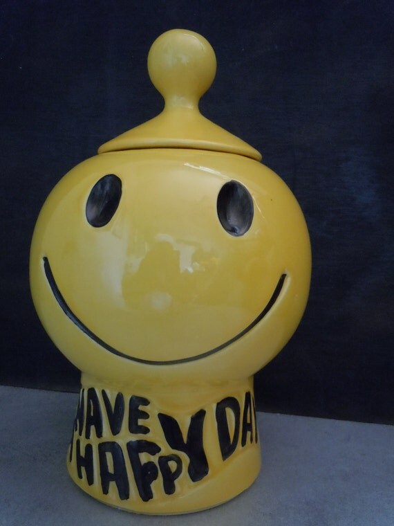Vintage McCoy Pottery Smiley Face Have A Happy Day Cookie Jar