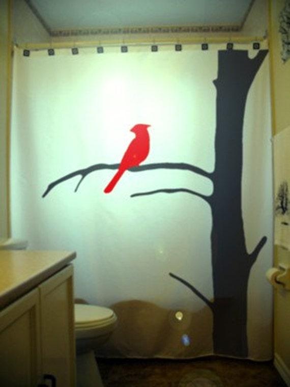 Red Cardinal SHOWER CURTAIN Bird Tree Dead by CustomShowerCurtains