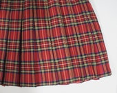 red plaid pleated skirt schoolgirl plus size 19 psychedelic paisley boho bohemian punk - BrightCloset
