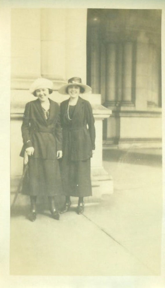 Antique Photograph 2 1920s Young Women One Disabled Using a Cane To Stand Well Dressed Hats Standing Outside Building Washington DC