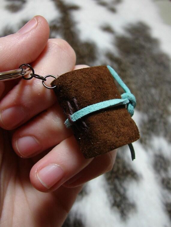 pecan brown suede mini diary with aquamarine tie closure