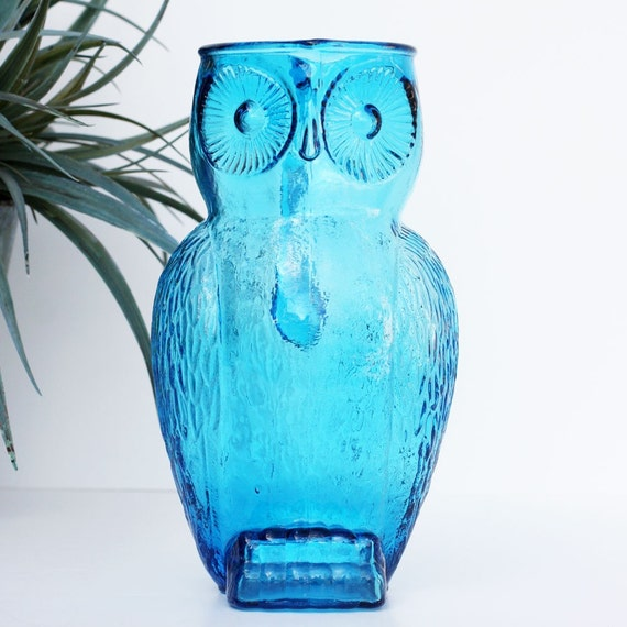 Vintage Blue Glass Owl Pitcher