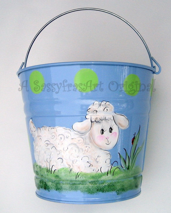 Lamb Easter Bucket on Pink  Reserved for Hannah